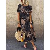 女性の花柄プリントルーズ半袖サイドポケットドレス