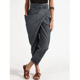Kobiety Zipper Casual Belt Harem Pants Nieregularne luźne spodnie
