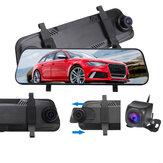 9.66 pouces 1080P voiture rétroviseur DVR caméra Dash Cam plein écran enregistreur tactile