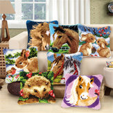 Funny Animal Patrón Latch Gancho Kit Pillow Caso Making Kit DIY Craft 43x43cm