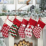 Knitted Christmas Stockings Gift Holders With Two Pom-Poms Xmas Tree Fireplace Hanging Ornaments Chrismas Decorations Sock