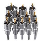 Drillpro 12pcs 15mm-50mm Upgrade M35 Buraco revestido de titânio Saw Cutter para liga de alumínio de aço inoxidável