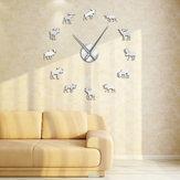 47 pouces faune orignal bricolage géant horloge murale orignal Silhouette décorative sans cadre montre murale moderne Nature Animal Wall Art chasse horloge