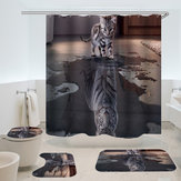 Cat with Tiger Heart Bathroom Accessories Mildew Waterproof Shower Curtain 3-piece Toilet Mats Rugs