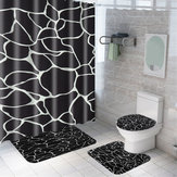 Marble Shower Curtain Waterproof Bathroom Bath Mat Set Rug Toilet Lid Covers A Shower Curtain