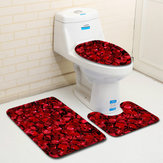 3PCS Non-Slip Bathroom Floor Mat Pedestal Rug Lid Toilet Cover Bath Mat