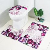 3Pcs Set Flowers Bathroom Non-Slip Pedestal Rug Lid Toilet Cover Bath Mat
