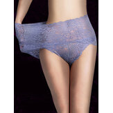 High Waisted Lace Perspective Hip Lifting Cotton Crotch Briefs