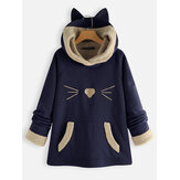 Ears Hooded Fleece Patchwork Cartoon Print Sweatshirt