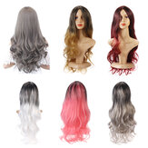 26'' Women Ombre Black Red Full Wig Ladies Long Curly Wavy W
