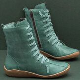 Old Fashion Pure Color Leather Mid-Becerro Botas
