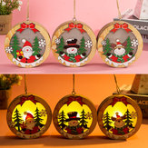Luminous Christmas Wooden Ornament LED Light Santa Claus Deer Decor Lamp Xmas Decorations