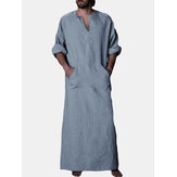 INCERUN Vintage Loose Kaftan Tops Men Long Robe Loungewear