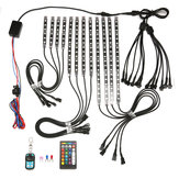AMBOTHER 12V 12pcs 18 Color RGB LED Rock Effect Light Waterproof Kit Voice Remote Control For Motorcycle Bike Car