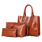 3 PCS Women Vintage Leisure Handbag Óleo Crossbody Bolsa
