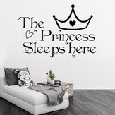 La princesse dort ici citation Wall Sticker vinyle autocollants Kid fille chambre décor