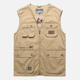 Heren katoenen multi-pocket vest zomer v-hals wasitcoat