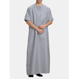 INCERUN Mens Loose Kaftan Short Sleeve Round Neck Long Tops