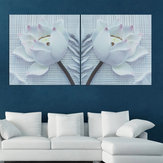 2PCS Nordic Canvas Print 3D Flower White Rose Wall Art Picture Wall Paintings Unframed Pictures