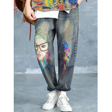 Cartoon Embroidered Ripped Jeans