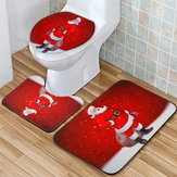 Santa Claus Waterproof Non-Slip Bathroom Shower Curtain Toilet Cover Mat Rug Set