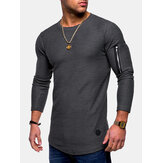 Irregular Hem Zipper Casual Camisetas