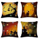 18'' LED Lights Halloween Pumpkin Cushion Cover Square Pillow Case Sofa Decor
