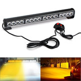 18Inch 16LED Emergency Traffic Advisor Flash Strobe Light Bar Warning Lamp White + Amber Color with Switch