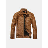 PU Leather Motorcycle Thick Jacket Fashion Casual Atumn Wint