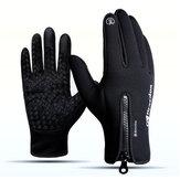 1 Par Luvas de Tela de Toque Esporte de Inverno Luvas de Esqui Zíper Térmico Quente À Prova de Vento Luva Tática