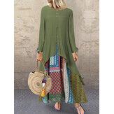 Vintage Etnik Baskı Ekleme Uzun Kollu Maxi Elbise