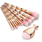 11PCS Mermaid Makeup Brush Set Fishtail Shaped Make Up Tools