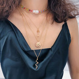 Geometric Pendant Multi-layer Necklace