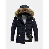 メンズ防風冬厚手暖かい毛皮のフードパーカージャケット
