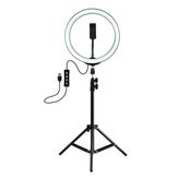 PULUZ PKT3035 10 polegadas USB Video Ring Light com 110cm Light Stand Dual Phone Clip para Tik Tok Youtube Live Streaming