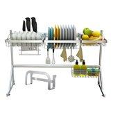 Support de séchage d'ustensiles en acier inoxydable à 2 niveaux sur une étagère de rangement de cuisine pour égouttoir