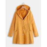 Manteaux à capuche boutonnés de couleur unie avec poches