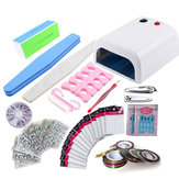 14pcs Nail Tools Set UV LED Lamp Gel Polish Dryer Clippers Stickers DIY Manicure Nail Dryer Machine Nail Clipper