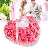 Rose Hochzeit bevorzugt Herzform Kissen Box Kissen Strass Strass Geschenk Ring