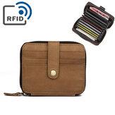 RFID Hombres Piel Genuina Monedero de 15 ranuras para tarjetas