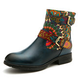 Women Metal Buckle Pattern Leather Comfy Ankle Boots