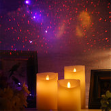Battery Powered Warm White Flameless LED Candle Light Starry Sky Projector Lamp for Home Party Wedding Decor