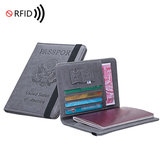 Men Business Travel RFID Anti-scan Blocking PU Leather Passport Tickert ID Card Slots Holder Phone Wallet