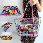 Kvinder rydder gennemsigtige blomster Strand indkøbstaske skulder håndtaske taske