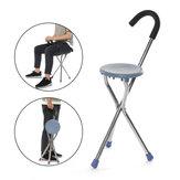 Paslanmaz Çelik Katlanır Tripod Kamışı Yürüyüş Sandalye Taşınabilir Yürüyüş Çubuk Koltuklu