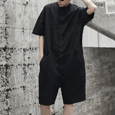 Men's Loose Overalls Button Up Casual Cargo Jumpsuit Pants