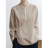 Blusa de algodão estilo chinês cor sólida com gola irregular