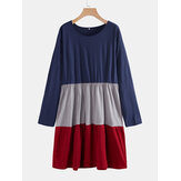 Plus Size Tricolor Patchwork manga comprida A-Line Casual Dress