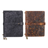 Indra Handmade Médio em relevo Costurado Couro Diário Notebook Journal