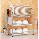 3 Tier Chrome Kitchen Dish Rack Pengeringan Drainer Tray Cutlery Holder Storage Kitchen Storage Rack